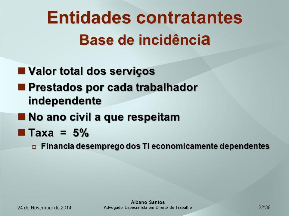 Entidades contratantes Base de incidência