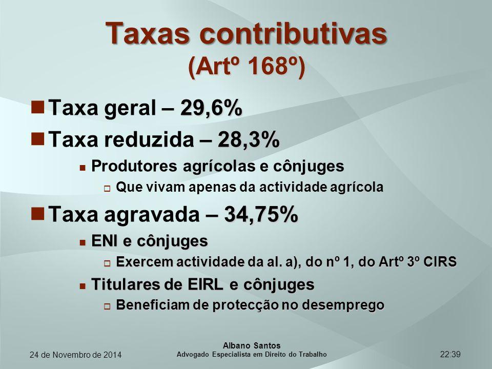 Taxas contributivas (Artº 168º)