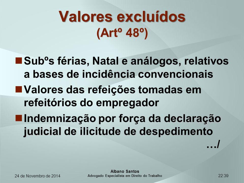 Valores excluídos (Artº 48º)