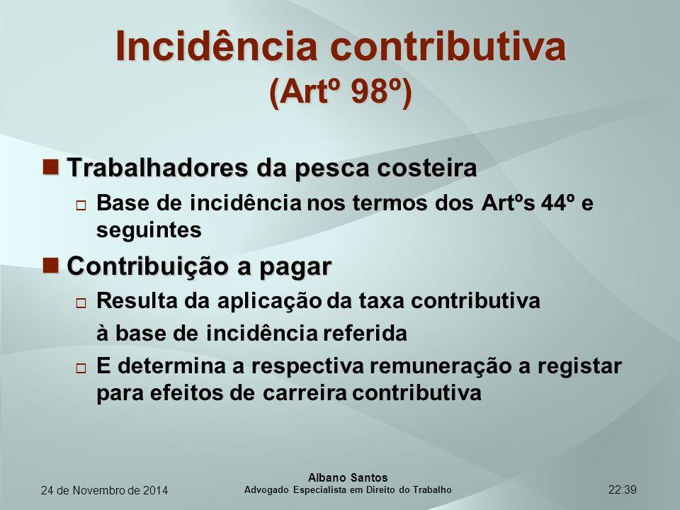 Incidência contributiva (Artº 98º)
