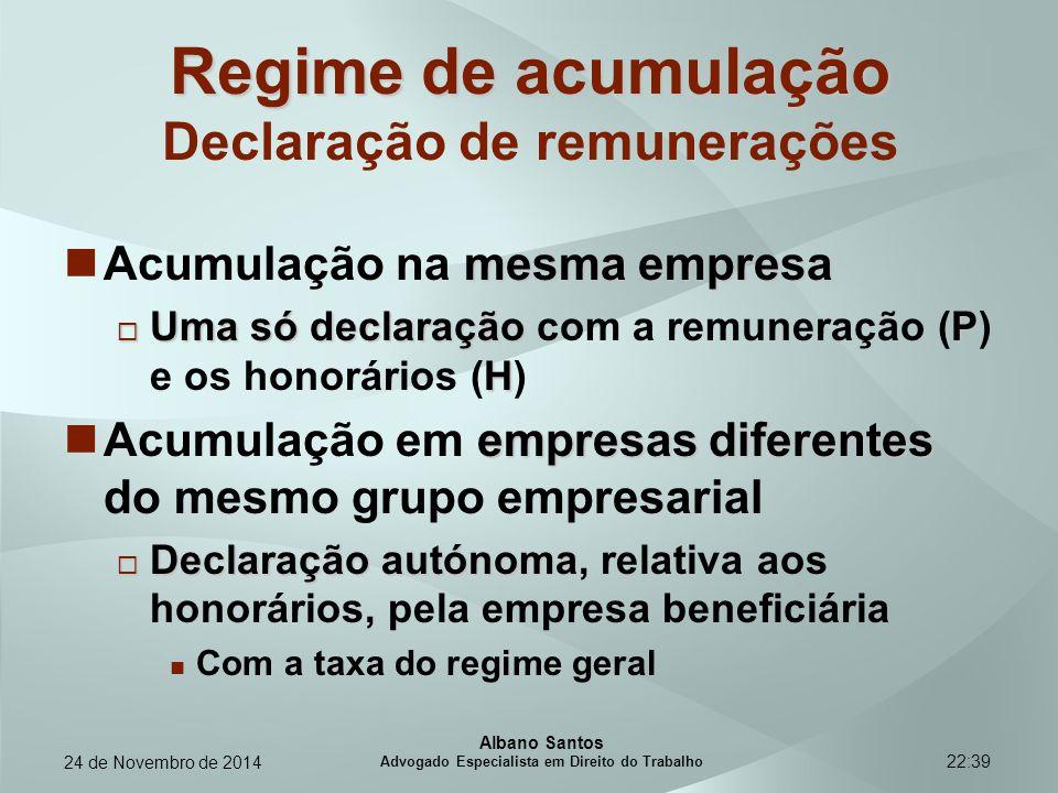 Regime de acumulação Declaração de remunerações