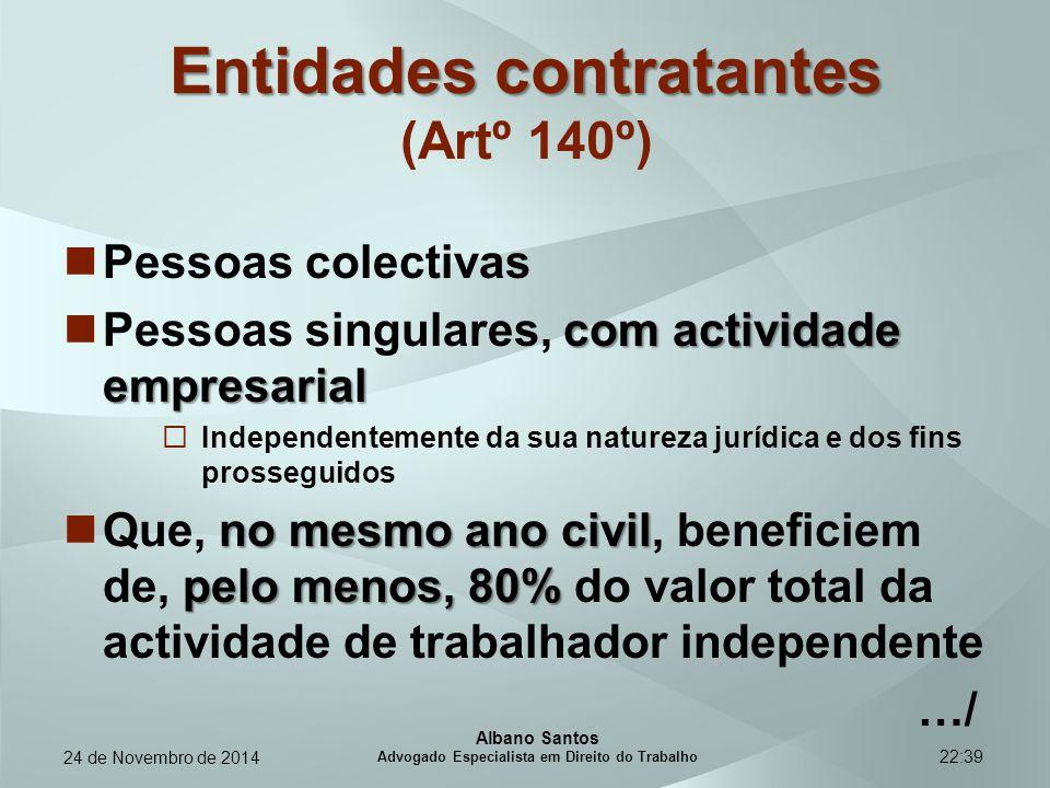 Entidades contratantes (Artº 140º)