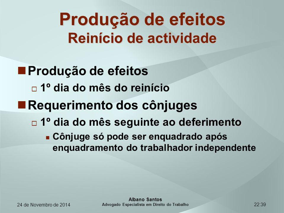 Produção de efeitos Reinício de actividade