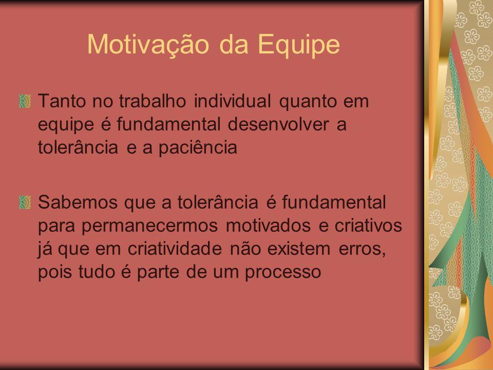Motivação da Equipe Tanto no trabalho individual quanto em equipe é fundamental desenvolver a tolerância e a paciência.