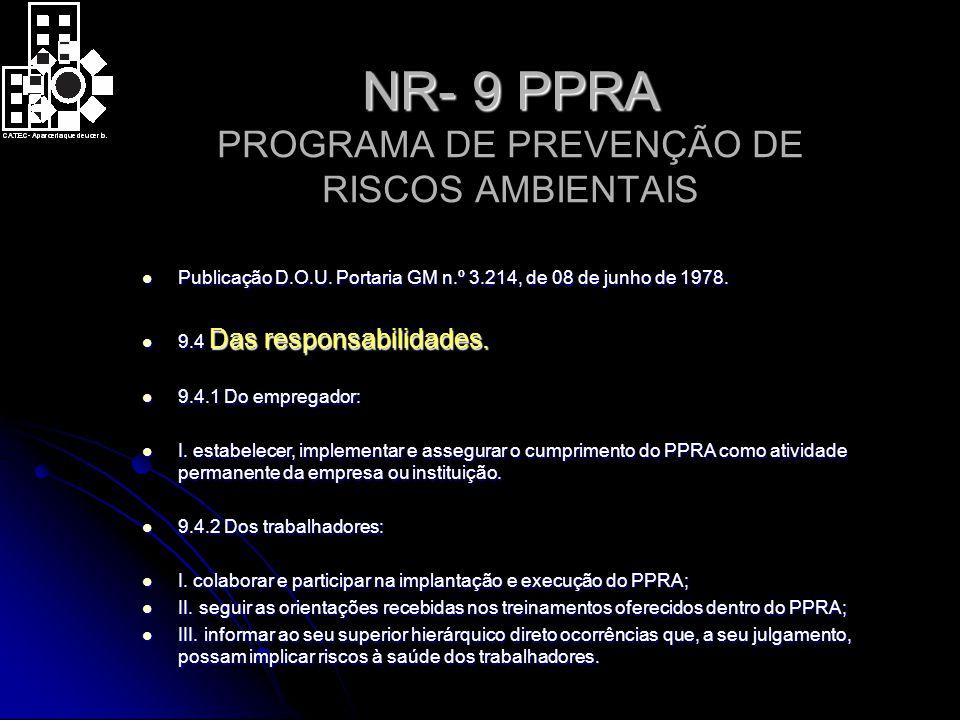 NR- 9 PPRA PROGRAMA DE PREVENÇÃO DE RISCOS AMBIENTAIS
