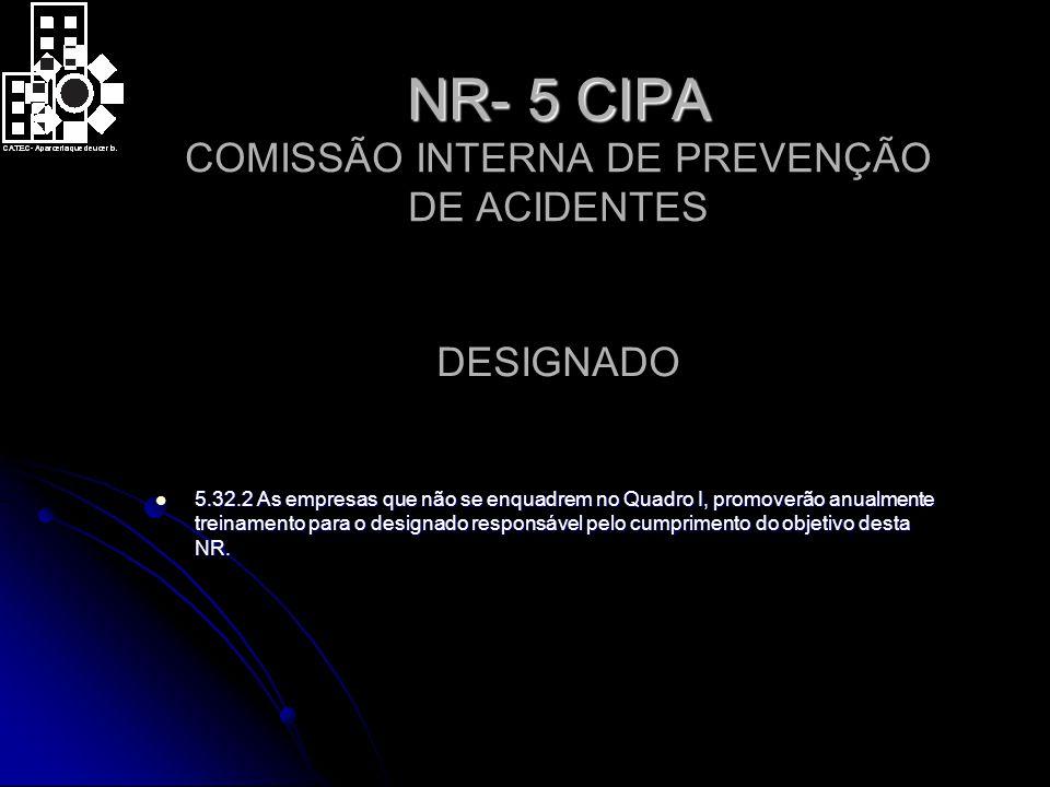 NR- 5 CIPA COMISSÃO INTERNA DE PREVENÇÃO DE ACIDENTES