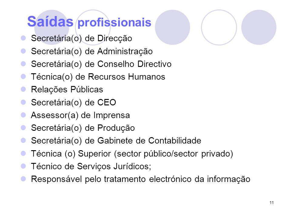 Saídas profissionais Secretária(o) de Direcção