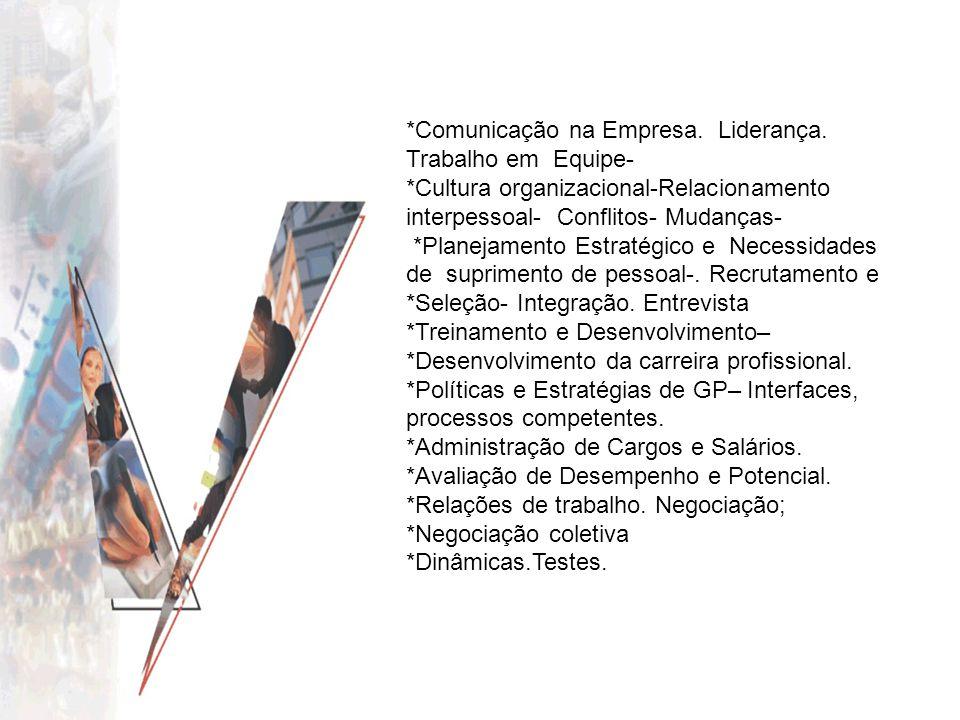 *Comunicação na Empresa. Liderança. Trabalho em Equipe-