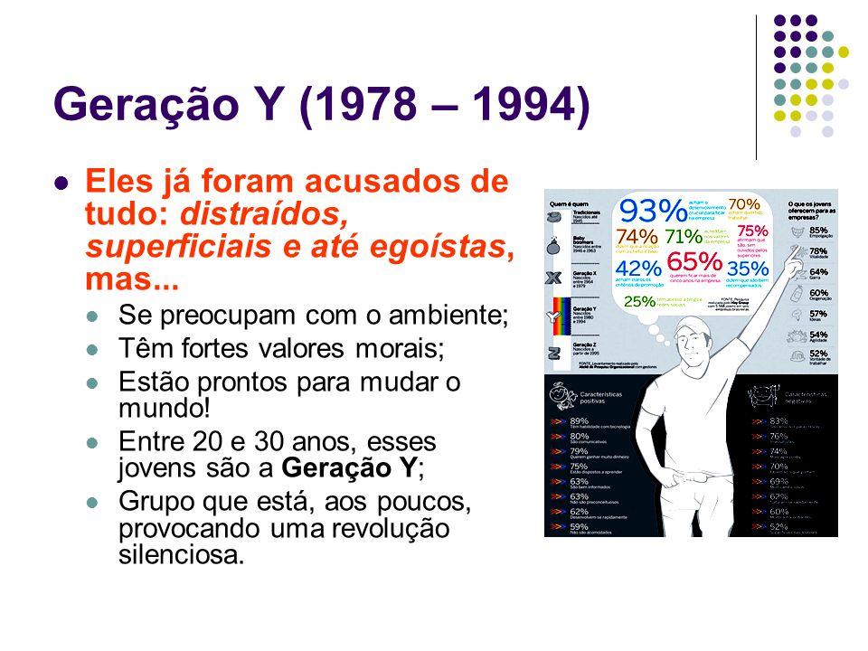 Geração Y (1978 – 1994) Eles já foram acusados de tudo: distraídos, superficiais e até egoístas, mas...