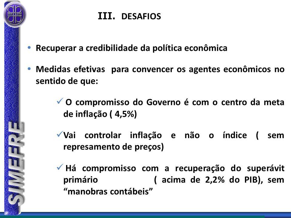 III. DESAFIOS Recuperar a credibilidade da política econômica. Medidas efetivas para convencer os agentes econômicos no sentido de que: