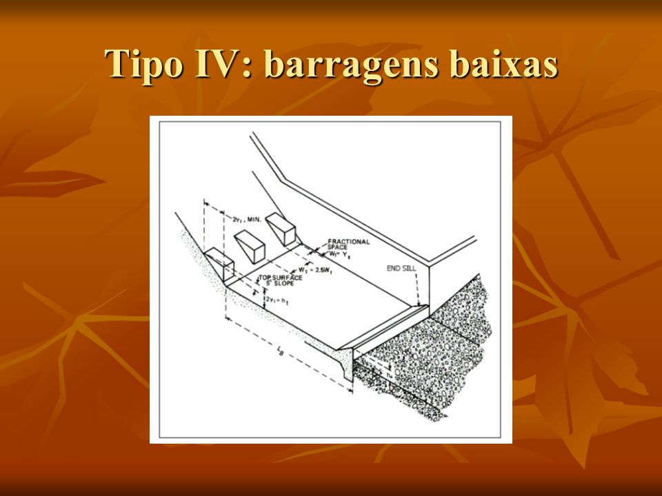 Tipo IV: barragens baixas