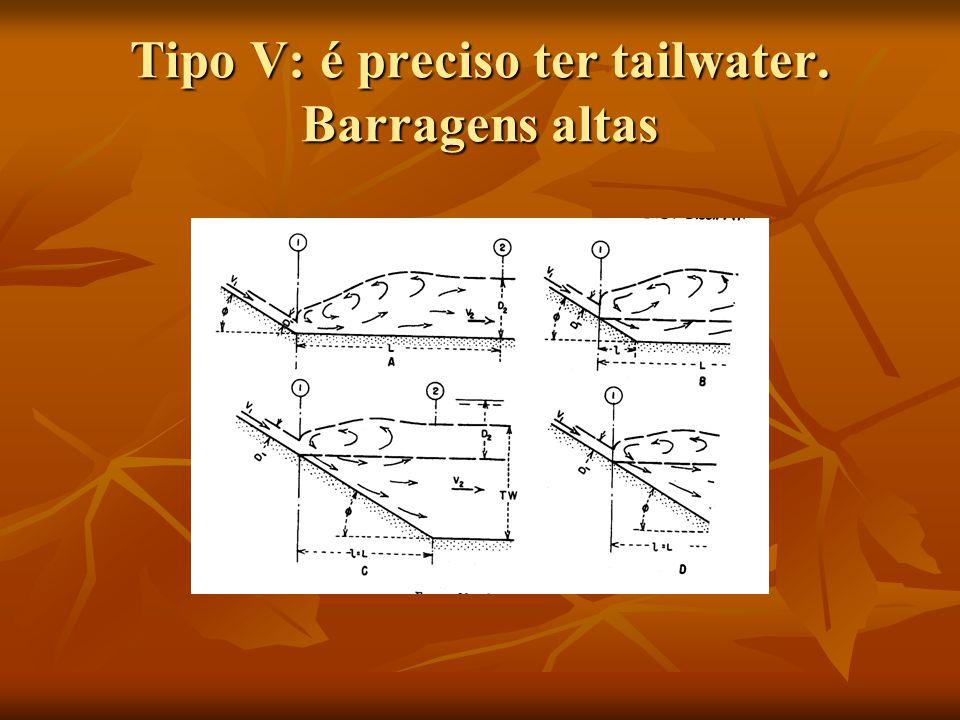 Tipo V: é preciso ter tailwater. Barragens altas