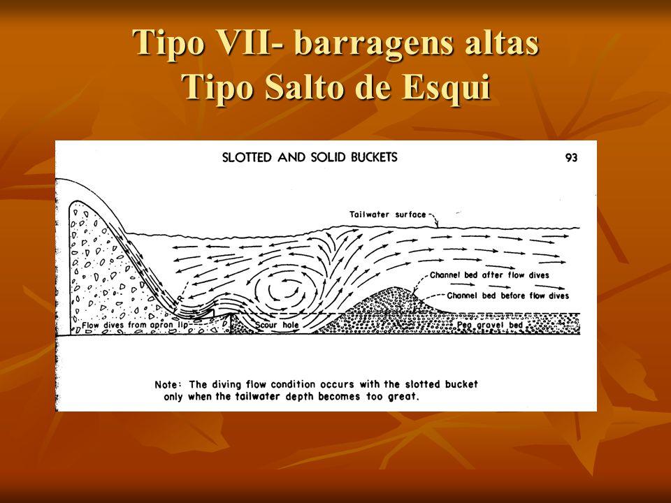 Tipo VII- barragens altas Tipo Salto de Esqui