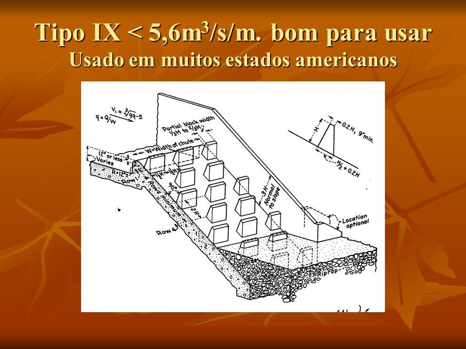 Tipo IX < 5,6m3/s/m. bom para usar Usado em muitos estados americanos