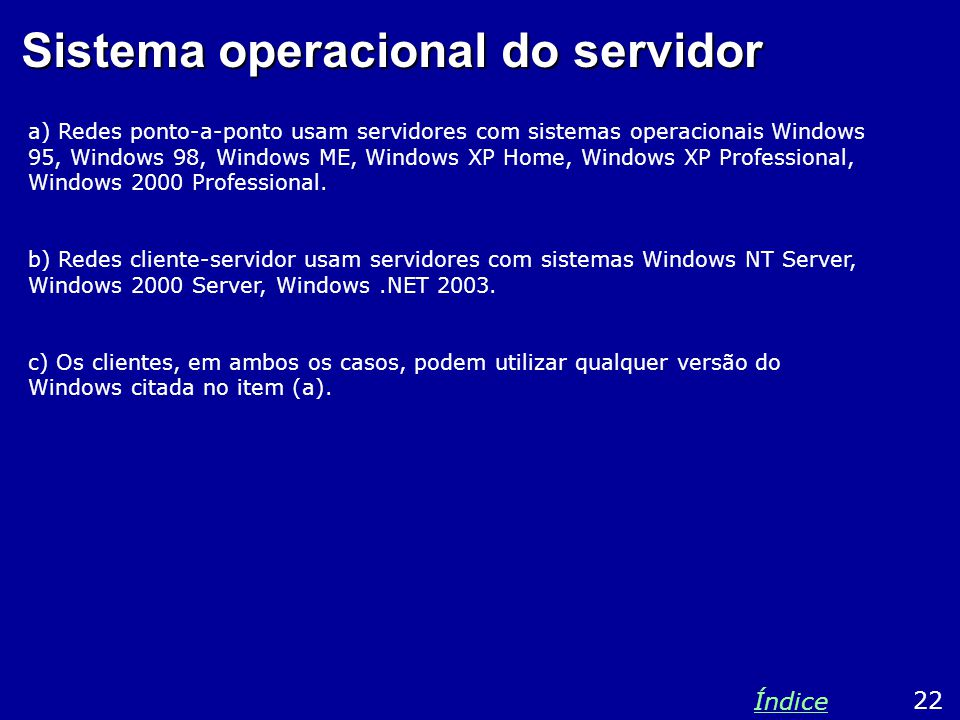 Sistema operacional do servidor