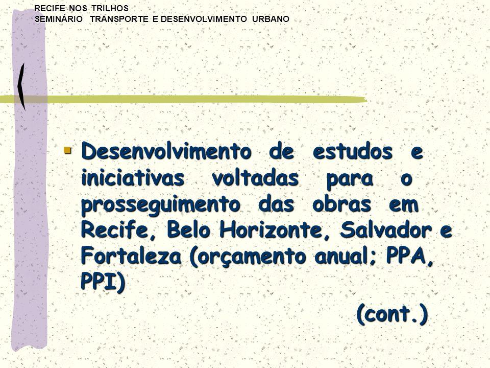RECIFE NOS TRILHOS SEMINÁRIO TRANSPORTE E DESENVOLVIMENTO URBANO