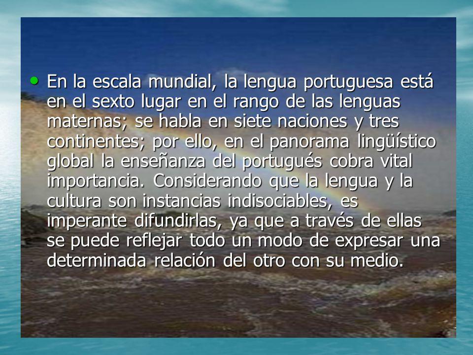 En la escala mundial, la lengua portuguesa está en el sexto lugar en el rango de las lenguas maternas; se habla en siete naciones y tres continentes; por ello, en el panorama lingüístico global la enseñanza del portugués cobra vital importancia.