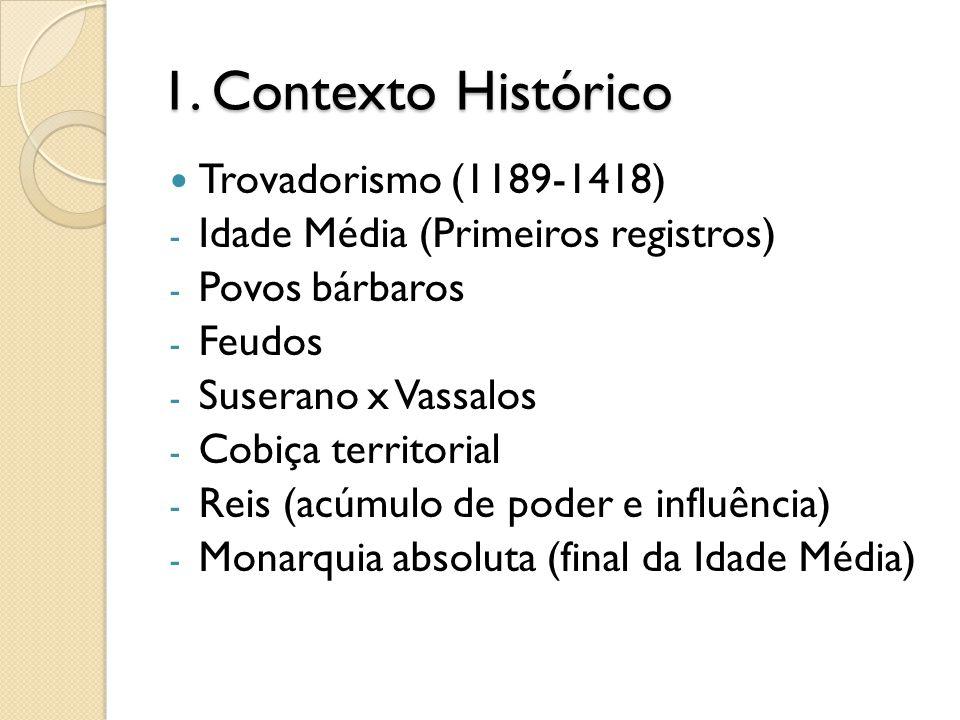 1. Contexto Histórico Trovadorismo (1189-1418)