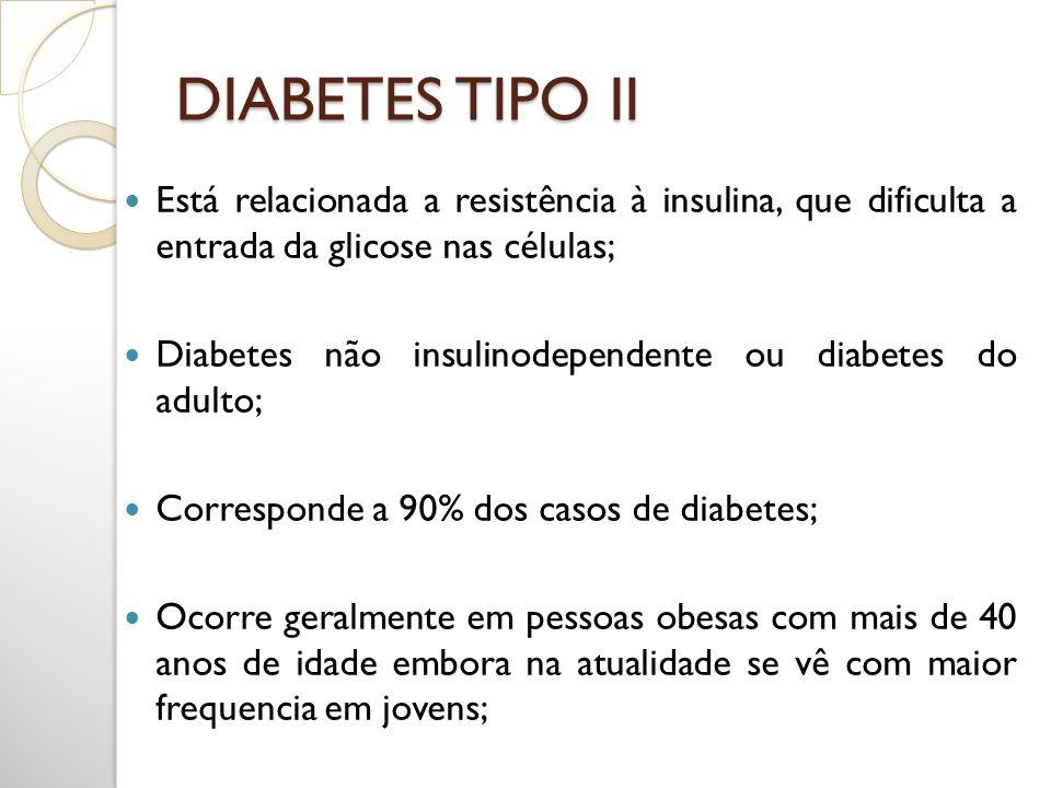 DIABETES TIPO II Está relacionada a resistência à insulina, que dificulta a entrada da glicose nas células;