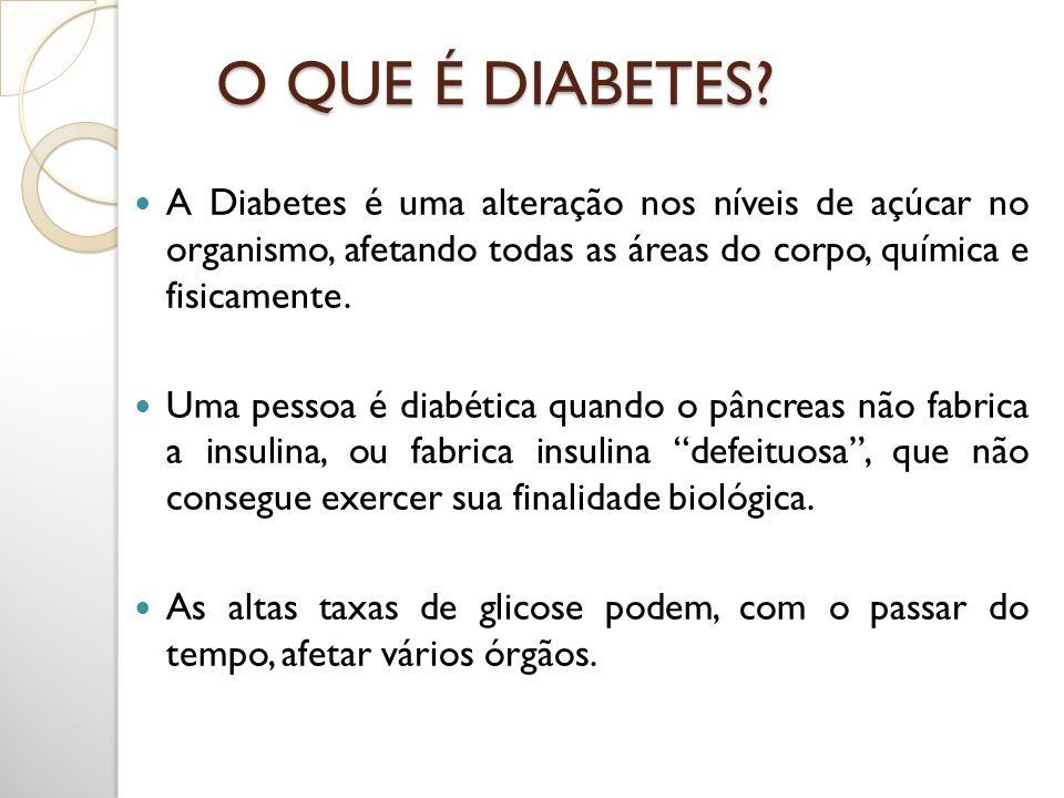 O QUE É DIABETES A Diabetes é uma alteração nos níveis de açúcar no organismo, afetando todas as áreas do corpo, química e fisicamente.