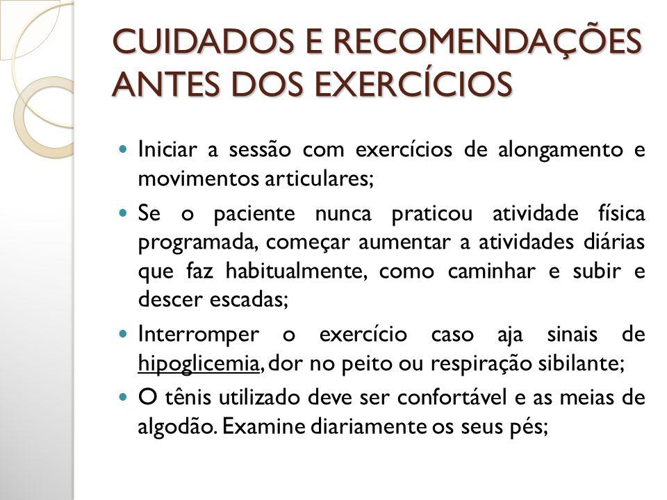 CUIDADOS E RECOMENDAÇÕES ANTES DOS EXERCÍCIOS