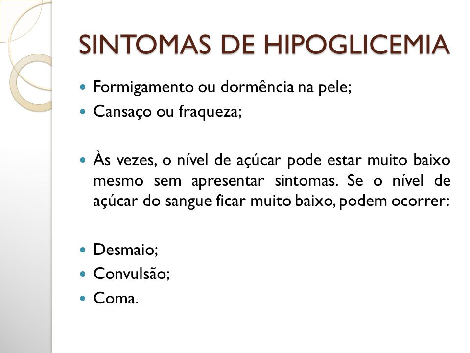 SINTOMAS DE HIPOGLICEMIA