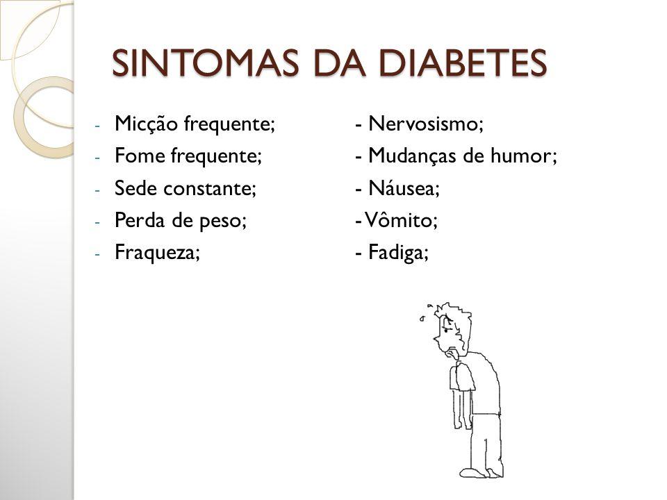 SINTOMAS DA DIABETES Micção frequente; - Nervosismo;