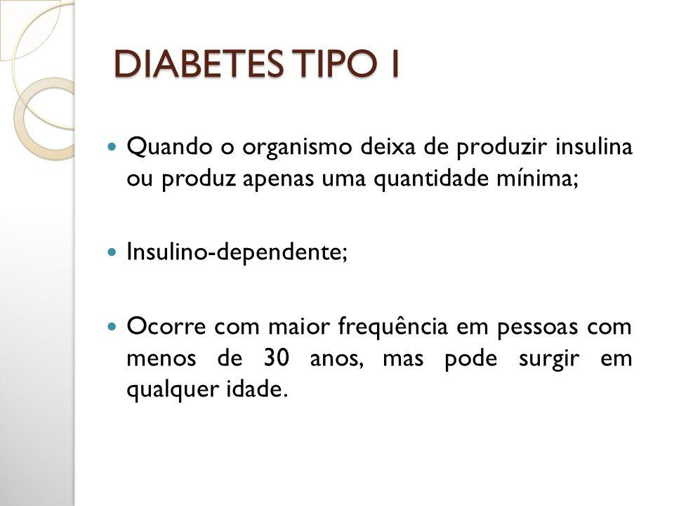 DIABETES TIPO I Quando o organismo deixa de produzir insulina ou produz apenas uma quantidade mínima;