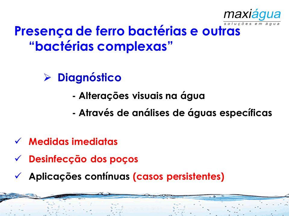 Presença de ferro bactérias e outras bactérias complexas