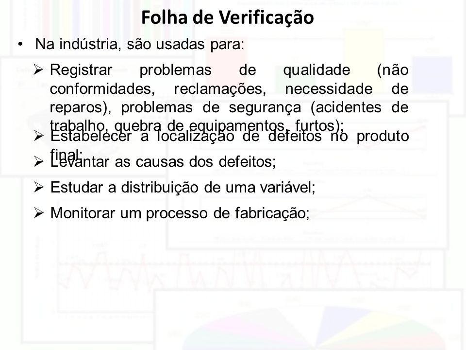Folha de Verificação Na indústria, são usadas para: