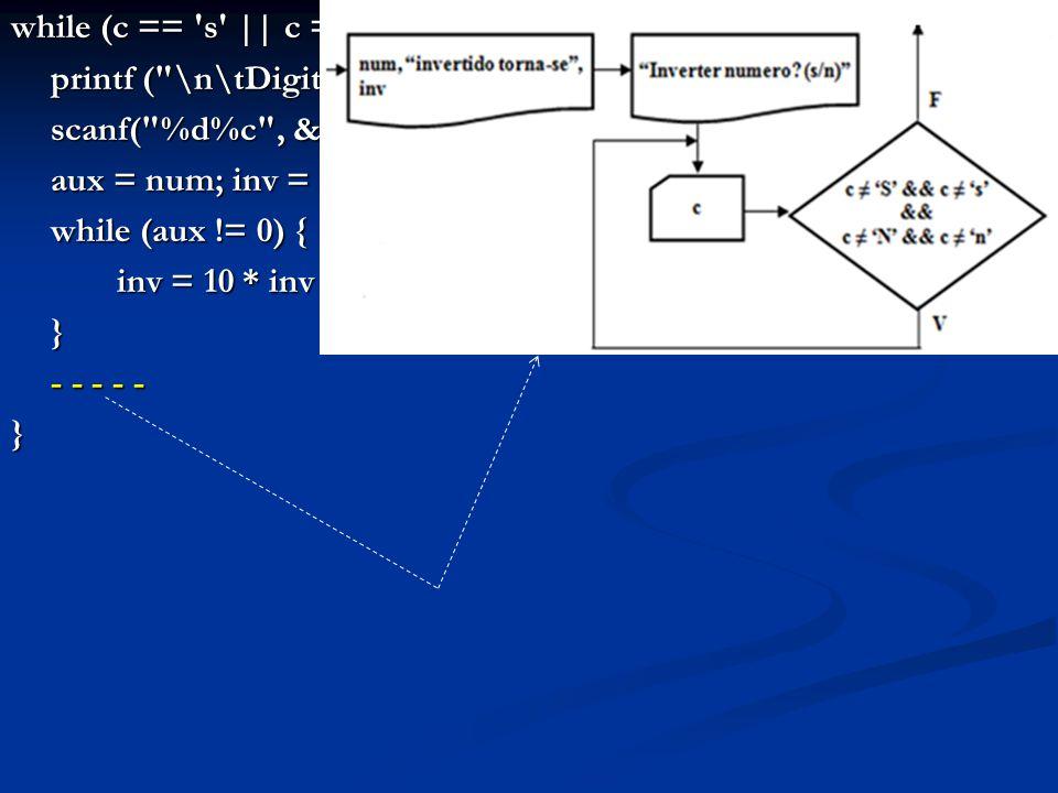 while (c == s || c == S ) { printf ( \n\tDigite o numero: ); scanf( %d%c , &num, &lixo); aux = num; inv = 0;