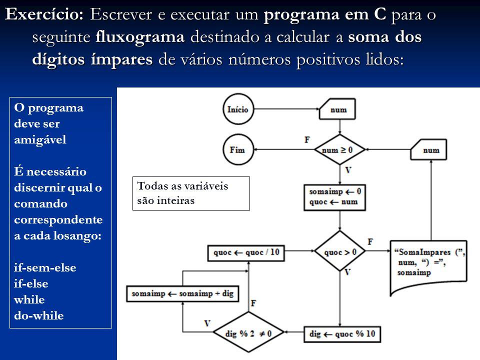 Exercício: Escrever e executar um programa em C para o seguinte fluxograma destinado a calcular a soma dos dígitos ímpares de vários números positivos lidos: