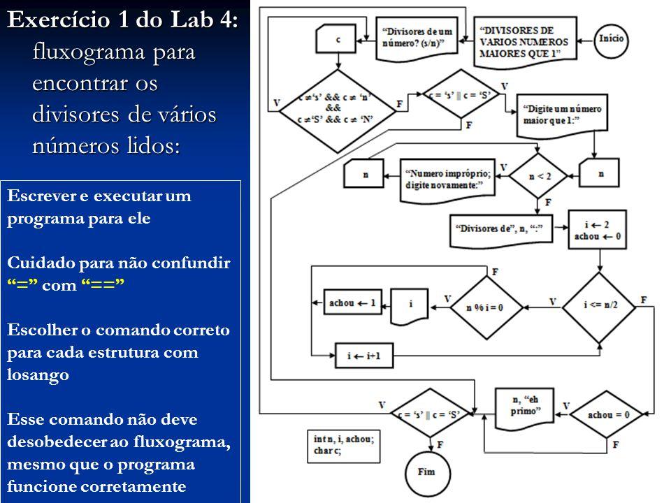 Exercício 1 do Lab 4: fluxograma para encontrar os divisores de vários números lidos: