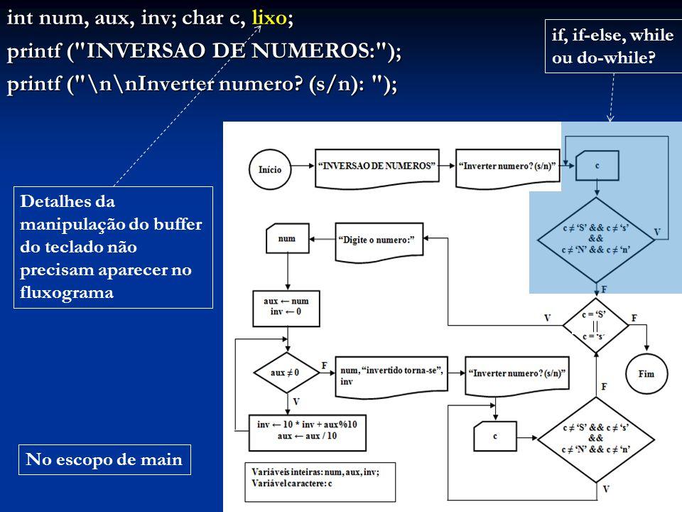 int num, aux, inv; char c, lixo; printf ( INVERSAO DE NUMEROS: );