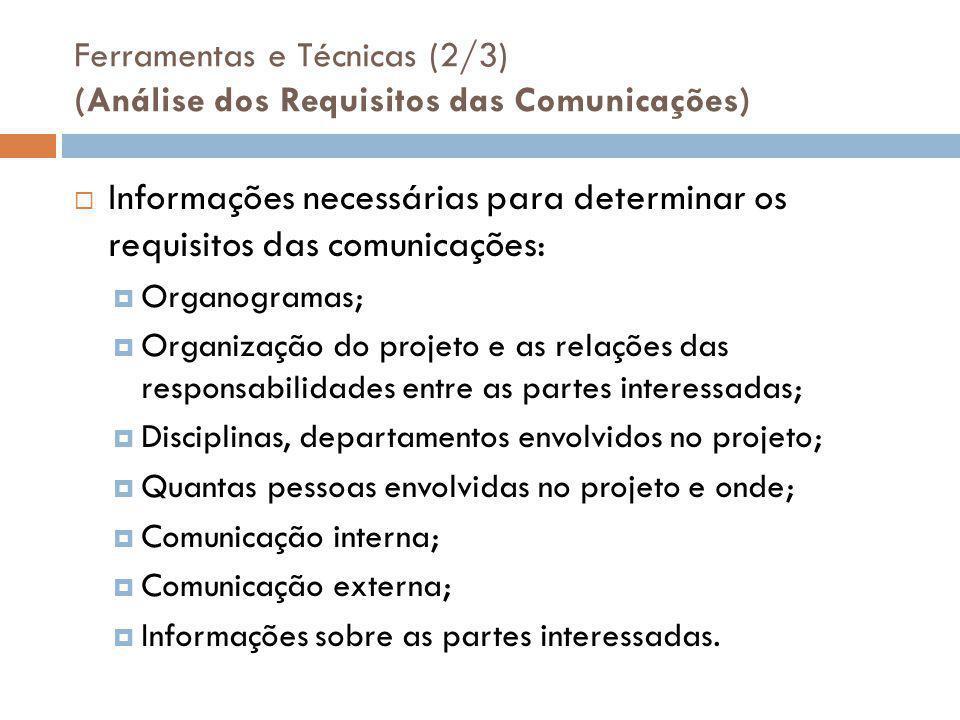 Ferramentas e Técnicas (2/3) (Análise dos Requisitos das Comunicações)