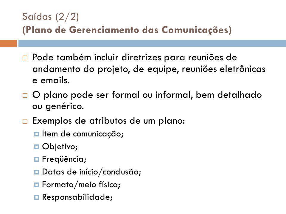 Saídas (2/2) (Plano de Gerenciamento das Comunicações)
