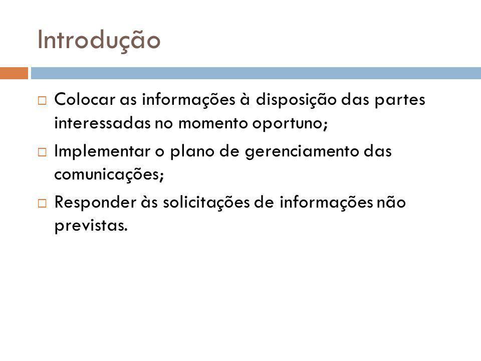 Introdução Colocar as informações à disposição das partes interessadas no momento oportuno; Implementar o plano de gerenciamento das comunicações;