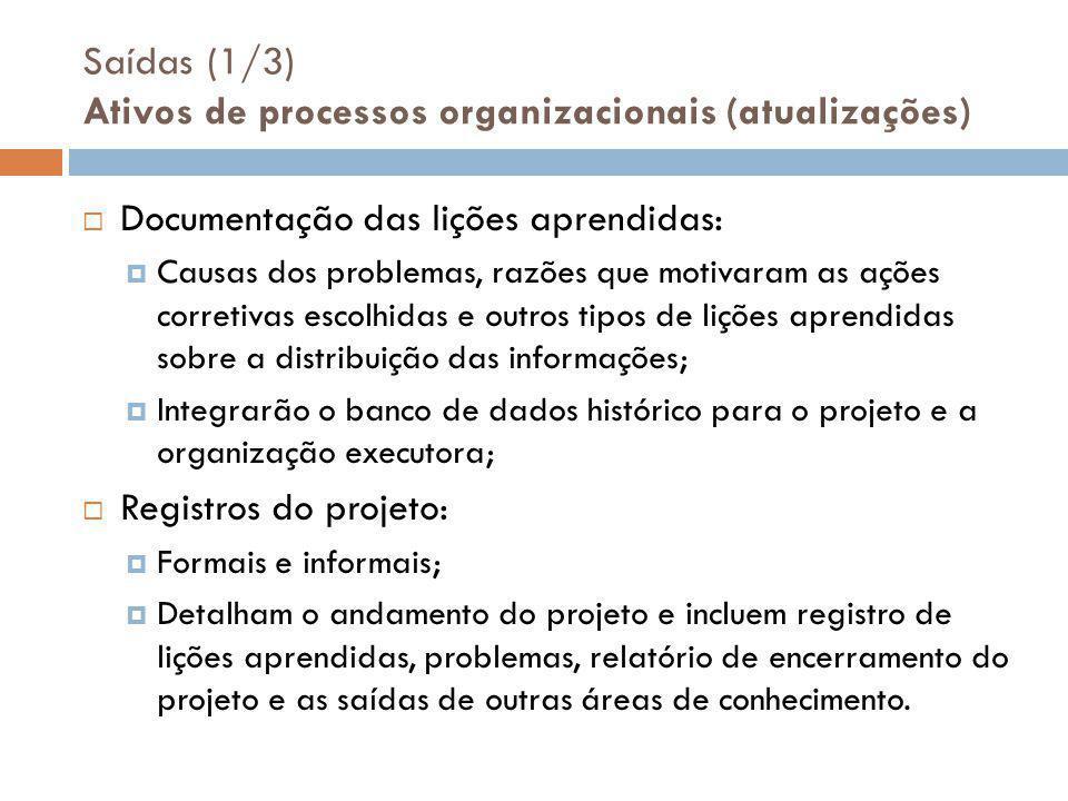 Saídas (1/3) Ativos de processos organizacionais (atualizações)