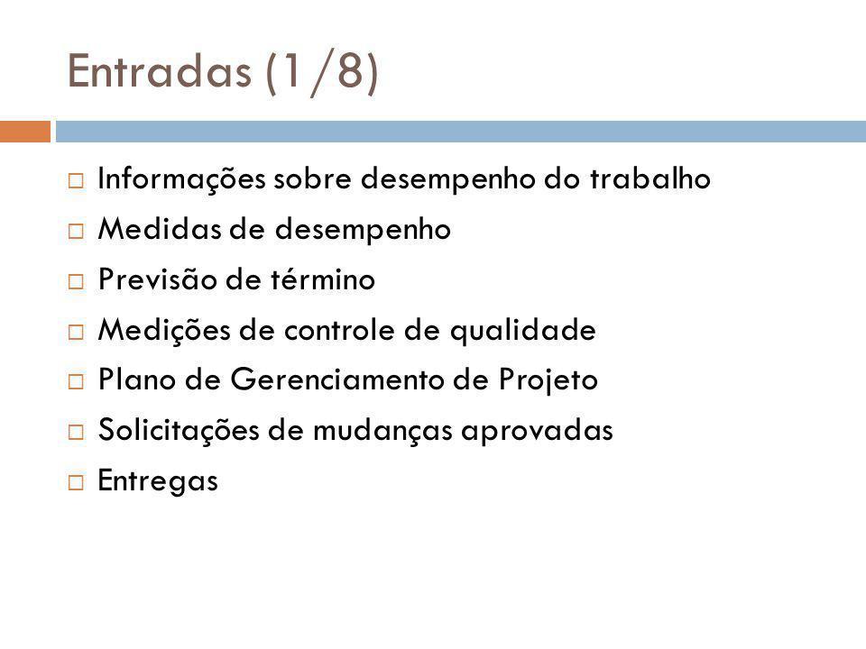 Entradas (1/8) Informações sobre desempenho do trabalho