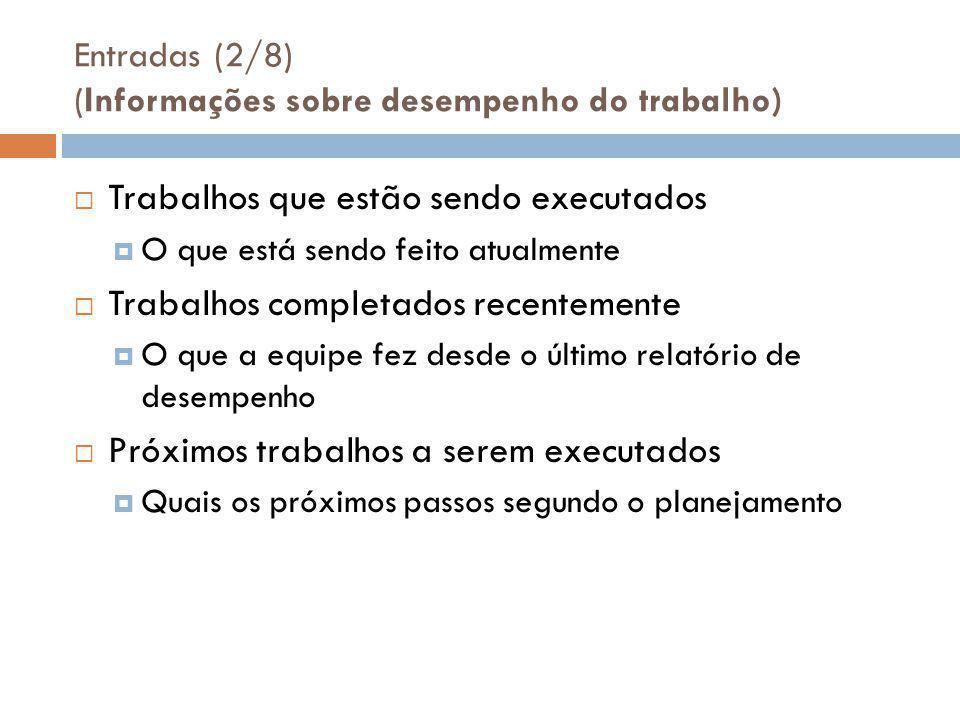 Entradas (2/8) (Informações sobre desempenho do trabalho)