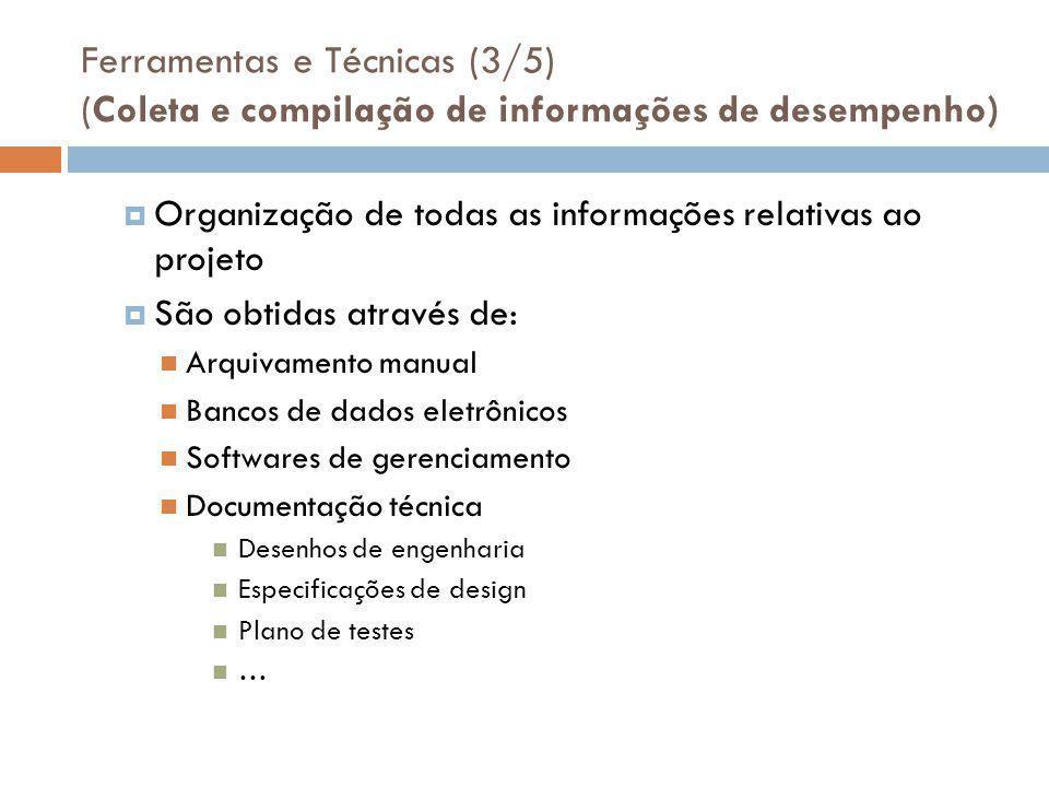 Ferramentas e Técnicas (3/5) (Coleta e compilação de informações de desempenho)