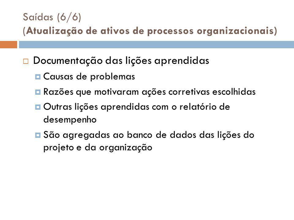 Saídas (6/6) (Atualização de ativos de processos organizacionais)