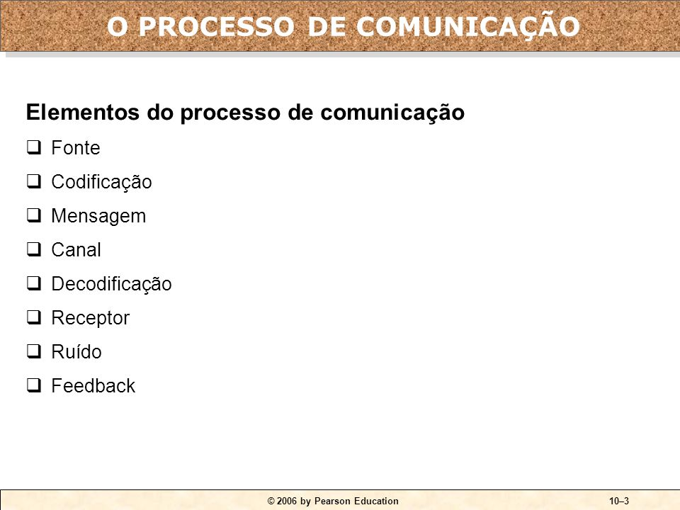 QUADRO 10-1 O processo de comunicação