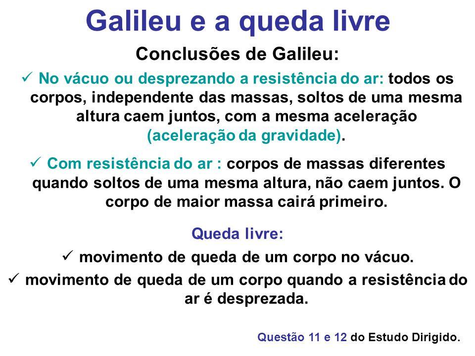 Conclusões de Galileu: movimento de queda de um corpo no vácuo.