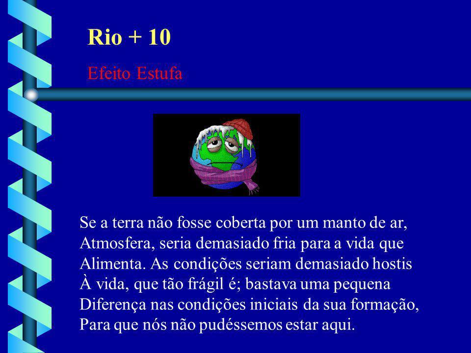 Rio + 10 Efeito Estufa. Se a terra não fosse coberta por um manto de ar, Atmosfera, seria demasiado fria para a vida que.