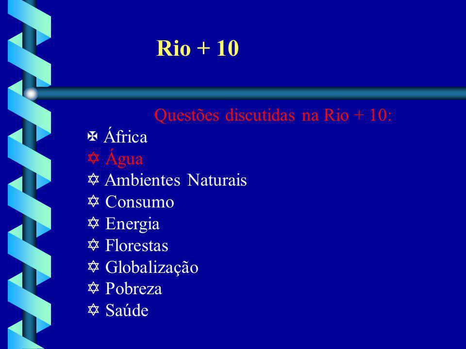 Rio + 10 Questões discutidas na Rio + 10: África Água