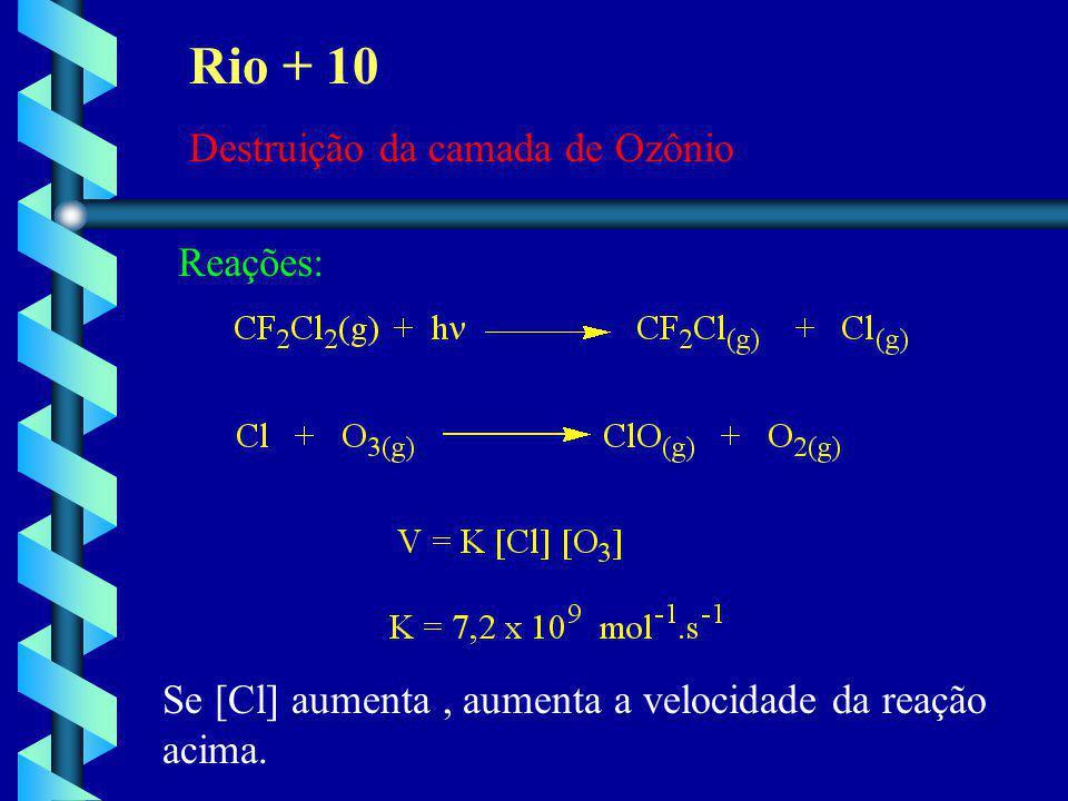 Rio + 10 Destruição da camada de Ozônio Reações: