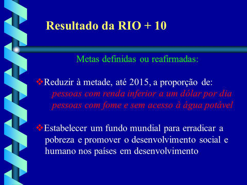 Resultado da RIO + 10 Metas definidas ou reafirmadas: