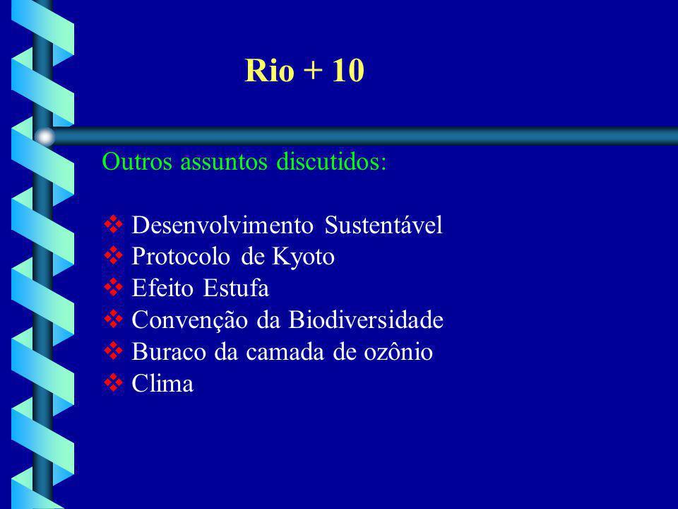 Rio + 10 Outros assuntos discutidos: Desenvolvimento Sustentável