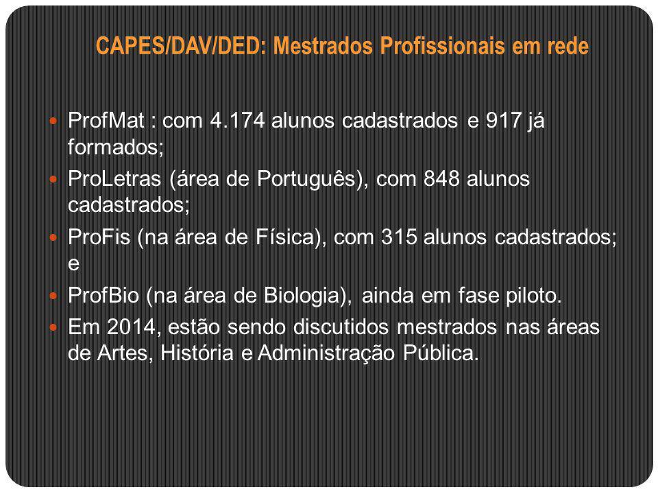 CAPES/DAV/DED: Mestrados Profissionais em rede